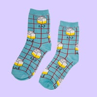 Grid Milk Carton Sock | Light Blue