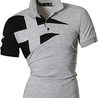 jeansian Men's Casual Slim Fit Short Sleeves Polo Shirt T-Shirt Tops U009
