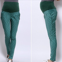 0013 Polka Dot Printed Cotton Maternity Pants Pregnant Adjustable Belly Skinny Trousers For Pregnancy Women New M-2XL = 1946850692
