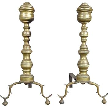 Pair of American Federal Brass Beehive and Iron Fireplace Andirons