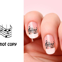 Set of 20 Music Note nail art decals.