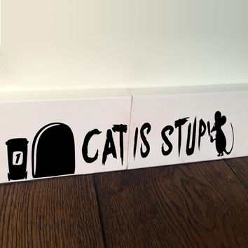 Funny Cat is Stupid Mouse Holes wall sticker for kids rooms wall Decal Home decor Children room Decoration Vinyl Sticker