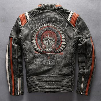 AVIREXFLY Men's Punk style Embroidery skulls leather motorcycle jacket Vintage black genuine leather jacket men biker jacket