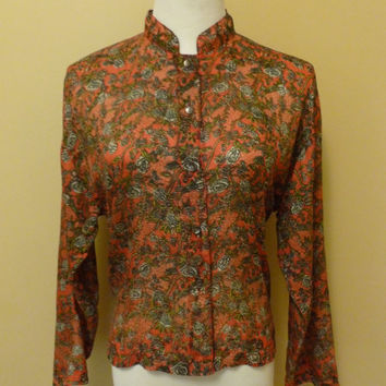 vintage 80s/ 90s 100% silk office chic ruby red floral print button front botanical blouse with mandarin collar size medium/large