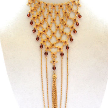 Vintage Gold Tone Necklace with Amber Bead, Drape Bib Necklace, Costume Jewelry