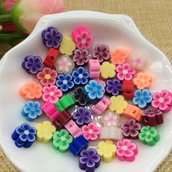 8mm Polymer Clay Fimo Flower Beads Bricolaje Perolas Soltas Perlas Para Bisuteria Diy Craft Slice Bead Mixed Color 200pcs/Lot