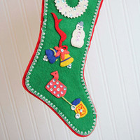 Felt Stocking, Christmas Stocking, Vintage Stocking, Handmade Stocking, Folk Art Stocking, Kitsch Christmas, Sequins, Snowman, Red and Green