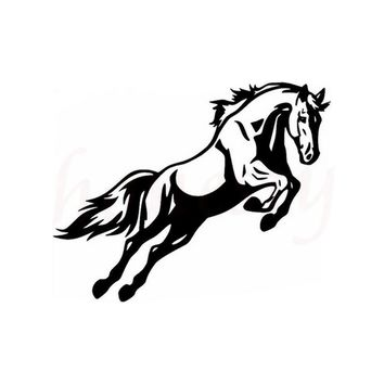 Jumping Horse Bumper Car Sticker Wall Home Glass Window Door Laptop Auto Truck Motorcycle Vinyl Decal Decor Black 14.5cmX11.5cm