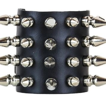 "4-Row Silver Small 1/2"" & Large 1"" Spikes Black Leather Wristband Bracelet w/ Buckle Closure"
