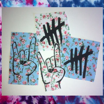 Floral Patch Pack - 5 Seconds of Summer logo and Hand sign - Sew On