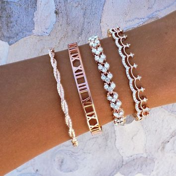 Tiara and Roman Numeral Bracelet Set
