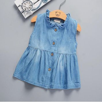 Denim Baby Girl Princess Dress Kid Baby Party Wedding Pageant Dresses baby girl clothes newborn baby girl clothes Clothes