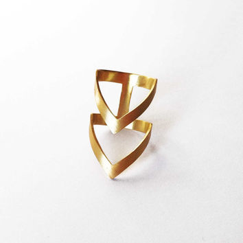 gold chevron ring  24K gold plated bronze ring   by katerinaki1977