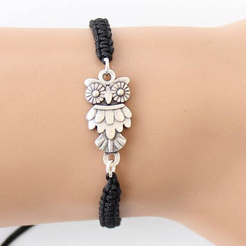 Owl bracelet, black macrame bracelet, adjustable bracelet, best friend birthday gift, gift for her