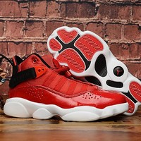 Air Jordan 6 Rings Red Black White Toddler Kid Shoes Child Sneakers - Best Deal Online