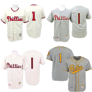 Cream 1948 Grey 1950 Throwback Richie Ashburn Jersey , Men's #1 Mitchell And Ness Philadelphia Phillies