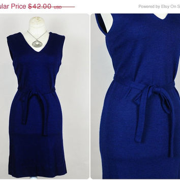 30% OFF SALE navy blue brushed knit v-neck simple sheath tie belted mod pinup mini dress vintage 1960s