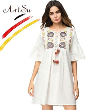 ArtSu Harajuku White Dress Women Floral Embroidery O-Neck Summer Dress Cotton And Linen Hollow Out Half Flare Sleeve Casual Robe