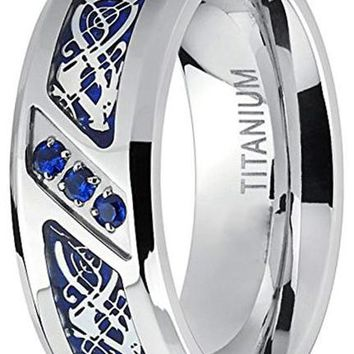 CERTIFIED 8mm Titanium Dragon Design Over Blue Carbon Fiber Inlay and Blue Cubic Zirconia