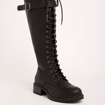 Lace Up Knee-High Combat Boots (Wide Width & Wide Calf)