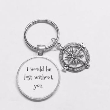 Compass I Would Be Lost Without You Gift Best Friend Sister Mom Dad Keychain