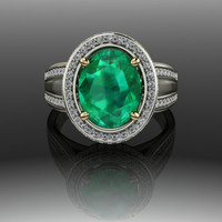 Emerald and Diamond Halo Style Two Tone Engagement Ring