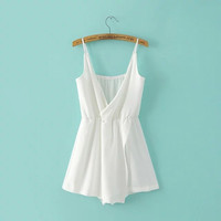 Deep V Backless Spaghetti Strap Casual One-piece Romper [4919898372]