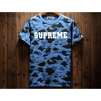 Supreme & Bape Joint Camouflage Full Print Short Sleeve Lightweight Breathable T-Shirt F-A-KSFZ Blue