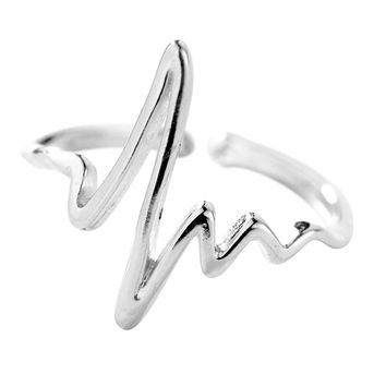 New Womens Silver Heartbeat Wave Minimilist Adjustable Size Rings 1pc