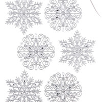 Holiday Lane Set of 6 Silver Sequined Snowflake Ornaments