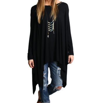 Black Piko Long Sleeve Drape Tunic