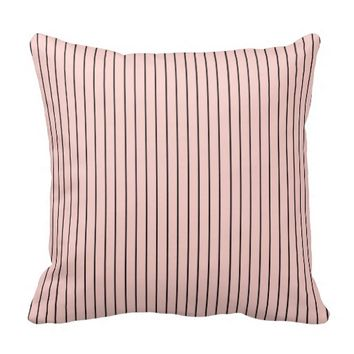 Chic Parisian Pale Pink and Black Pinstripes Throw Pillow
