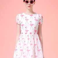 White Swan Print Short Sleeve Skater Dress