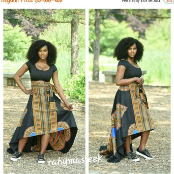 LABOUR DAY SALE New African print Black  Dashiki  skirt, African skirts. .