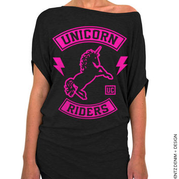 Unicorn Riders - Black with Pink Longer Length Slouchy Tee (Small - Plus Sizes)