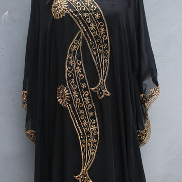Beach Wear Summer Party Kaftan Dress, Wave Style Caftan Dress, Black Maxi Dress, Long Royal Dress, Gold Embroidery