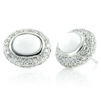 Safia's Stud Earrings - Simulated White Agate