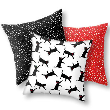 Black Cats 3pc Pillow Cover Set with Black, Red & White Polka Dots Throw Pillows for Living Room and Home Decor