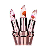 3 Fruit Flavors Temperature Changed Lip Balm Moisturizer Lips Waterproof Lip Stick 1Pc Gold Flower Lipstick Cosmetics