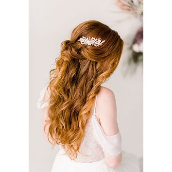 Rose gold blush flower comb - Style 4002- Ready to ship