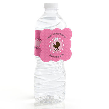 Girl Baby Carriage - Personalized Baby Shower Water Bottle Label Favors