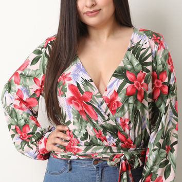 Tropical Floral Long Sleeve Wrap Top | UrbanOG