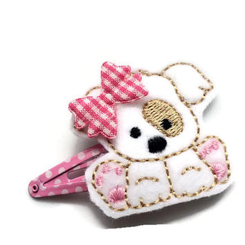 Puppy Dog Hair Clip Barrette - Pink Polka Dot Snap Clip - Pink Doggy Clip for Girls - Toddler Snap Clip Barrette - Cute Puppy Hair Clip