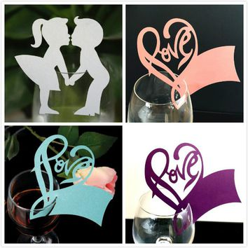 50 Pcs Wine Glass Card / Labels - Angel Heart Wine Glass Paper