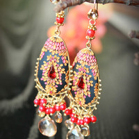 Tundra Sapphire, Coral and champagne quartz earrings on lovely brass finding - vintage swarowski Clay floral earring - El baile flamenco