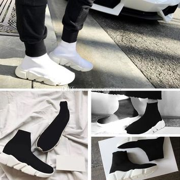 2017 PARIS Balenciaga Original High Quality Speed Trainer Casual Shoe Man Woman Sock Boots With Box Stretch-Knit Casual Boots Race Runner Cheap Sneaker