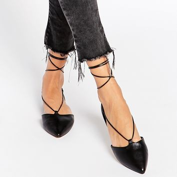ALDO Colyn Black Ghillie Tie Up Flat Shoes