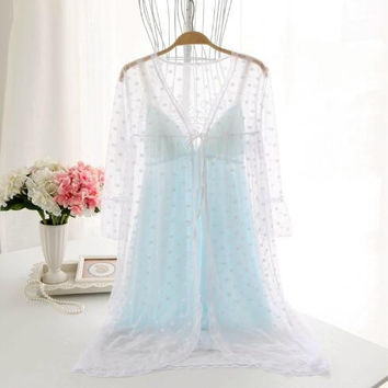 japanese / korean style best selling lace robe set push-up cup nightwear summer fairy young girl sexy sleepwear two-pieces hot