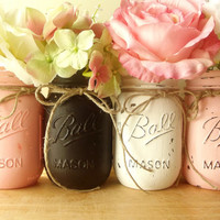 Four, Hand Painted Mason Jar | Rustic - Style, Painted Mason Jars -- Pink, Black and White Jars