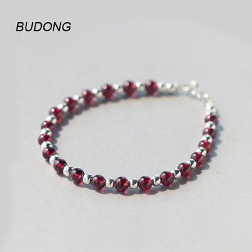 BUDONG Garnet And Silver Beads Chain For Women Bracelet 16.5 cm In Length Classic Natural Stone Fine Jewelry